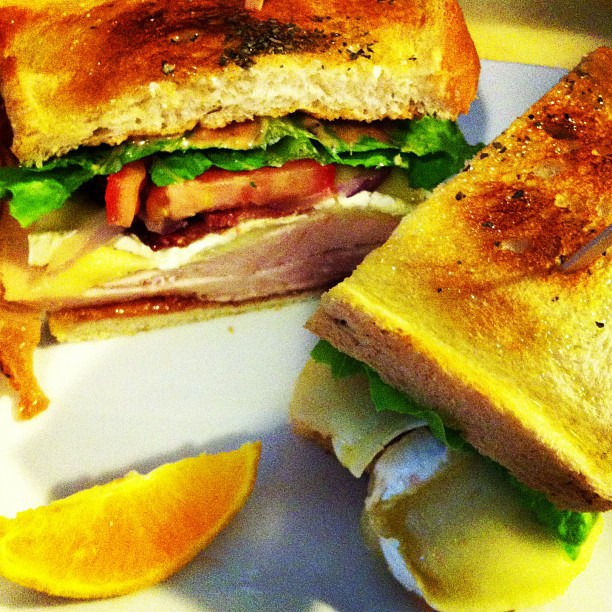 Turkey and brie sandwich, brought to you by Subterranean Coffee Boutique.